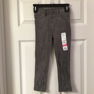 Girls Gray Ribbed Stretch Jeggings Size 4